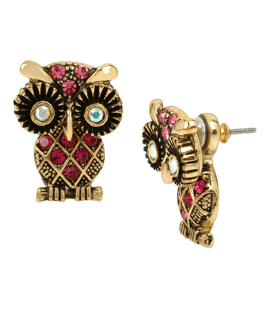 Betsey Johnson Owl Front/Back Earrings