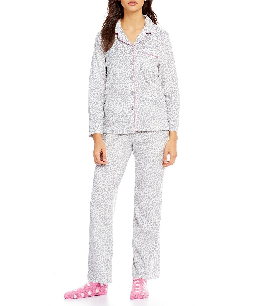 Karen Neuburger Holiday Leopard-Print Microfleece Pajamas & Socks Set