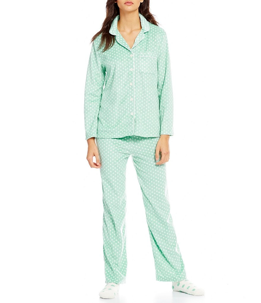 Karen Neuburger Holiday Dotted Microfleece Pajamas & Socks Set