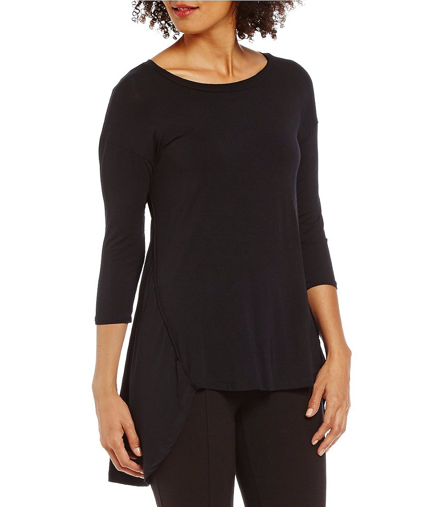 Gibson & Latimer Solid 3/4 Sleeve Hi-Low Knit Tunic