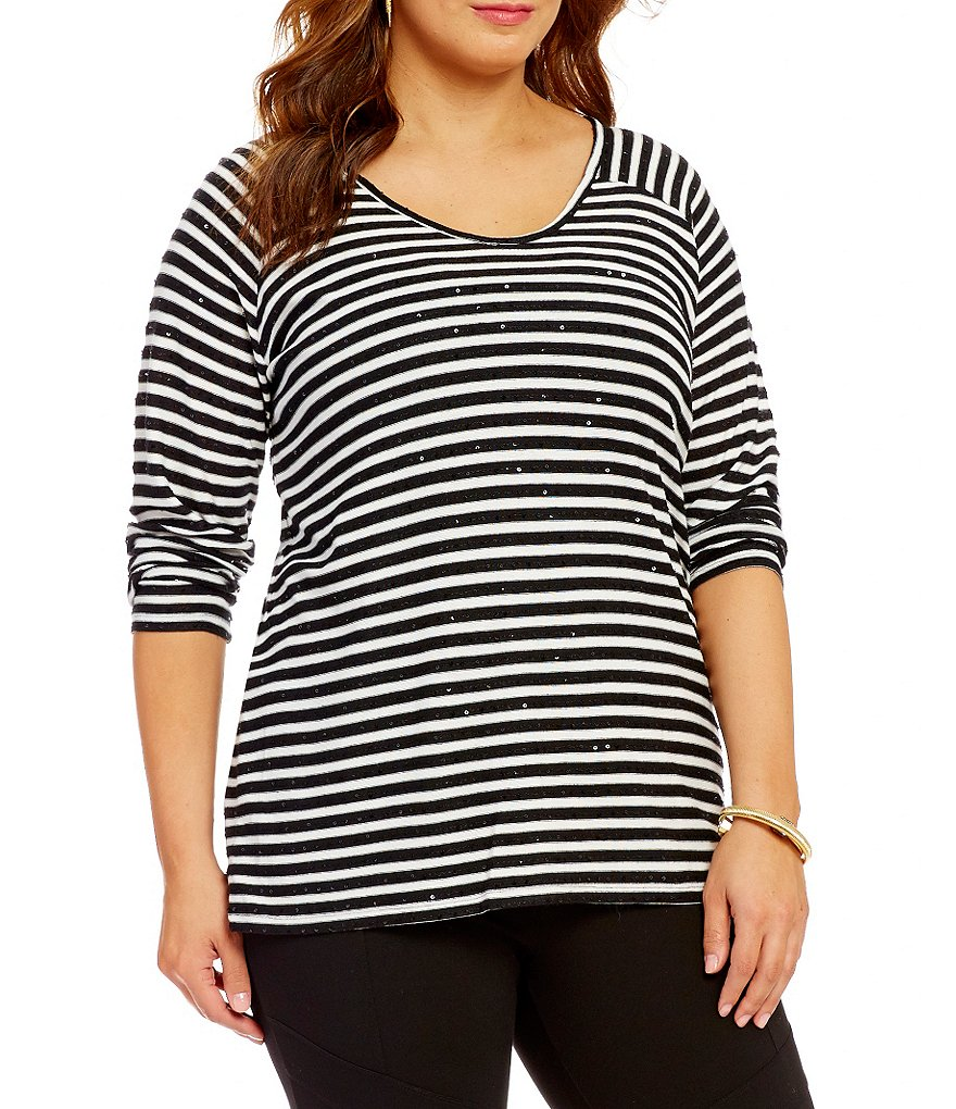 Vince Camuto Plus Boat Neck Striped Sequin Saturday Shirt