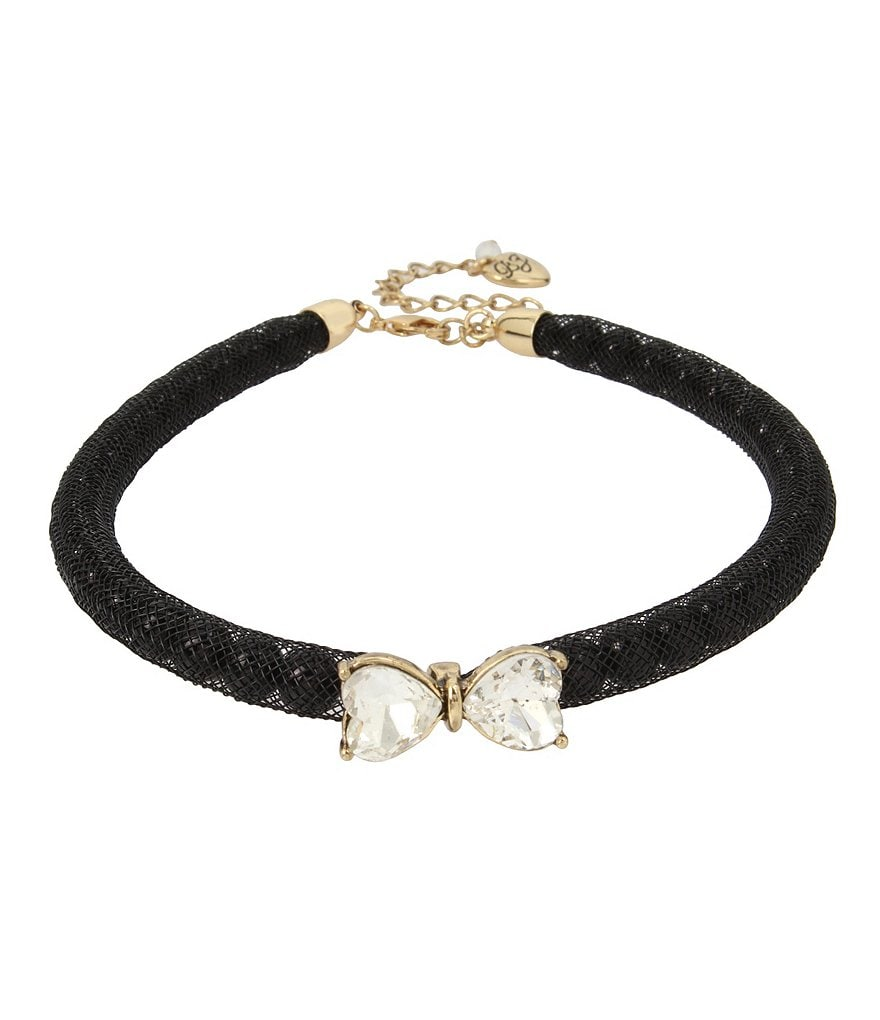 Betsey Johnson Stone Bow & Pearl Choker Necklace