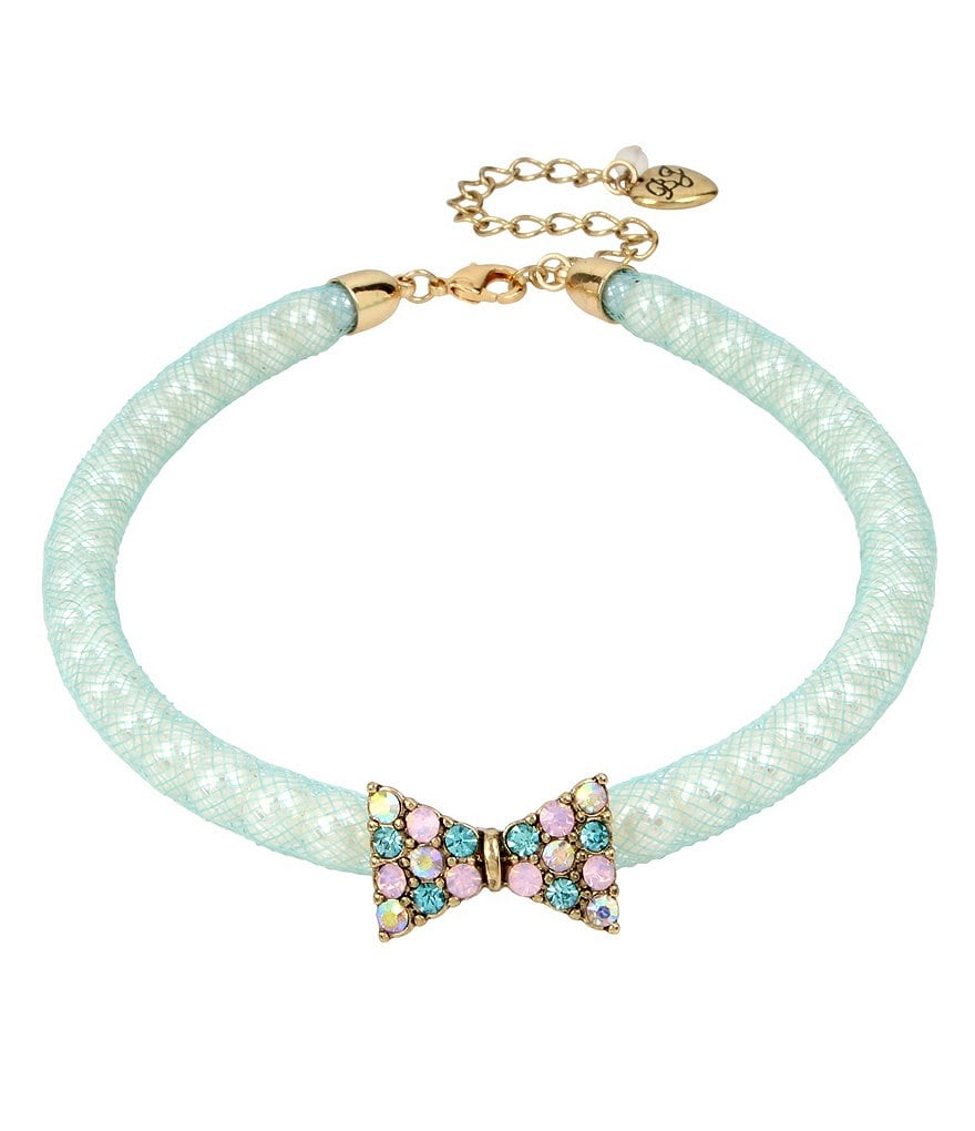 Betsey Johnson Pavé Bow & Pearl Mesh Choker Necklace