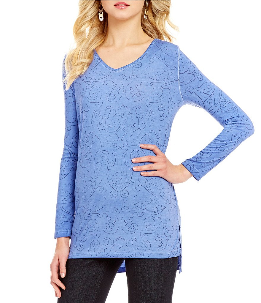 Westbound Long Sleeve Embroidered Hi-Low V-Neck Top