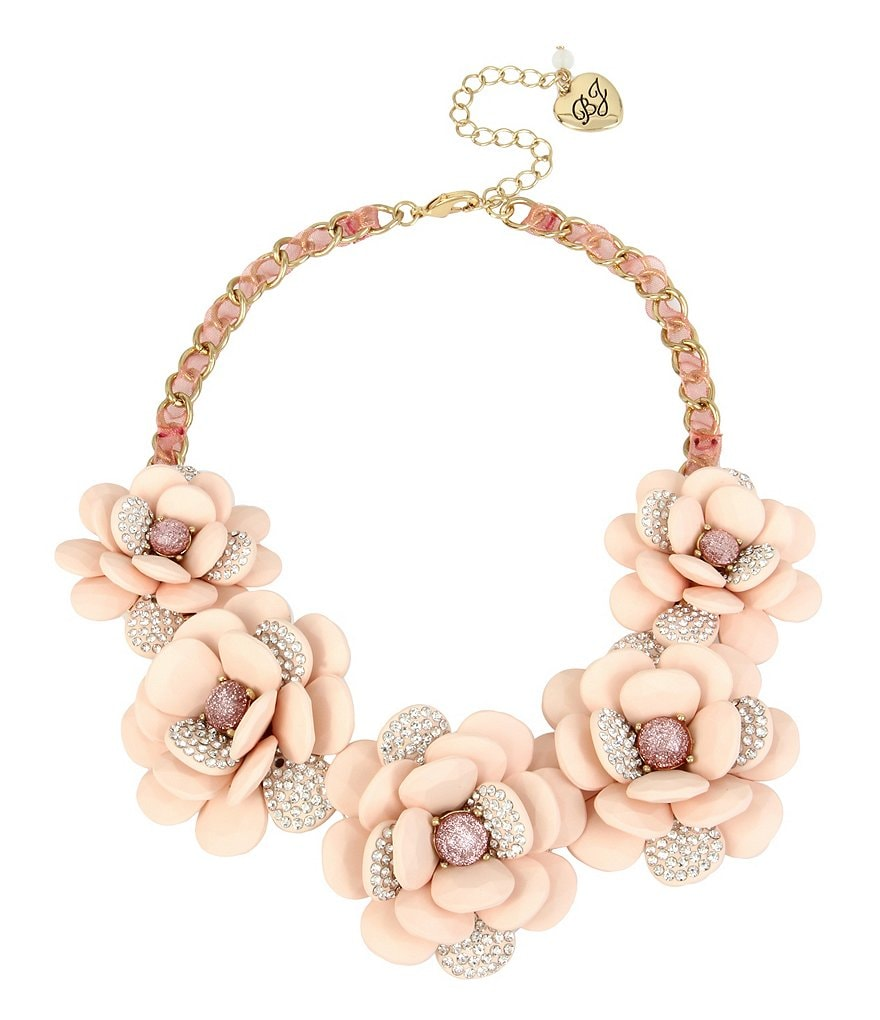 Betsey Johnson Pavé Flower Statement Necklace