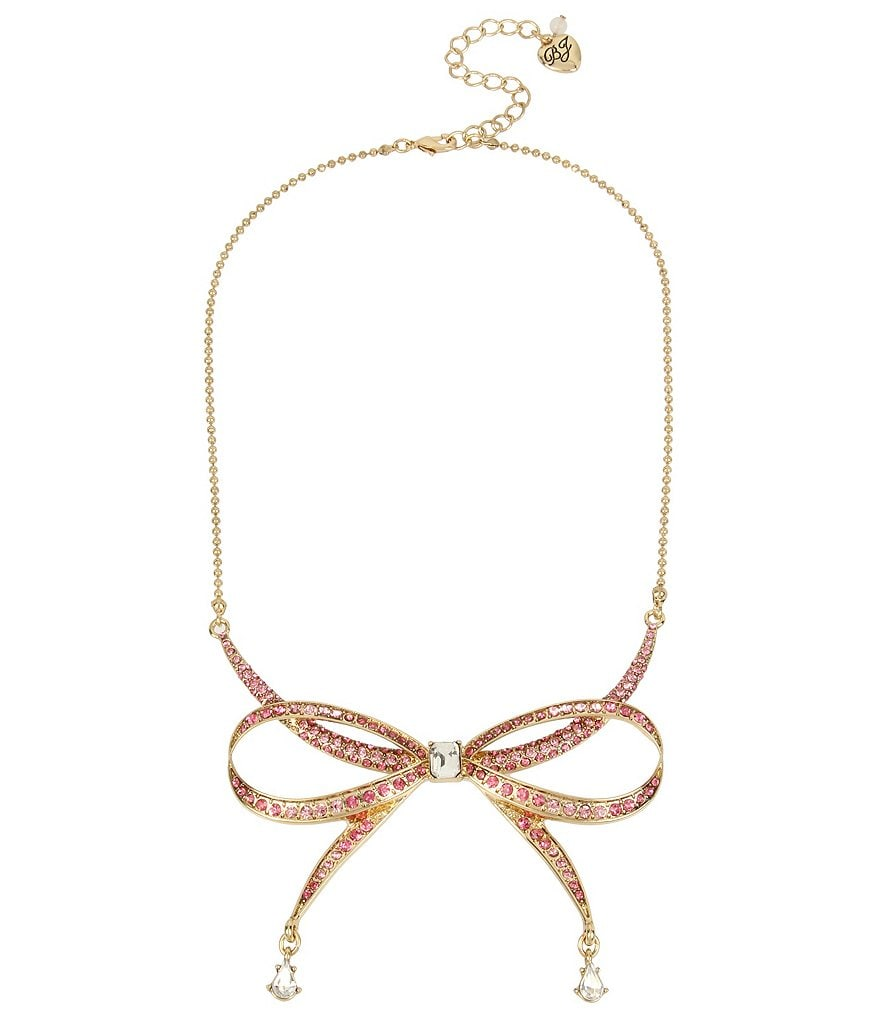 Betsey Johnson Pavé Bow Pendant Necklace