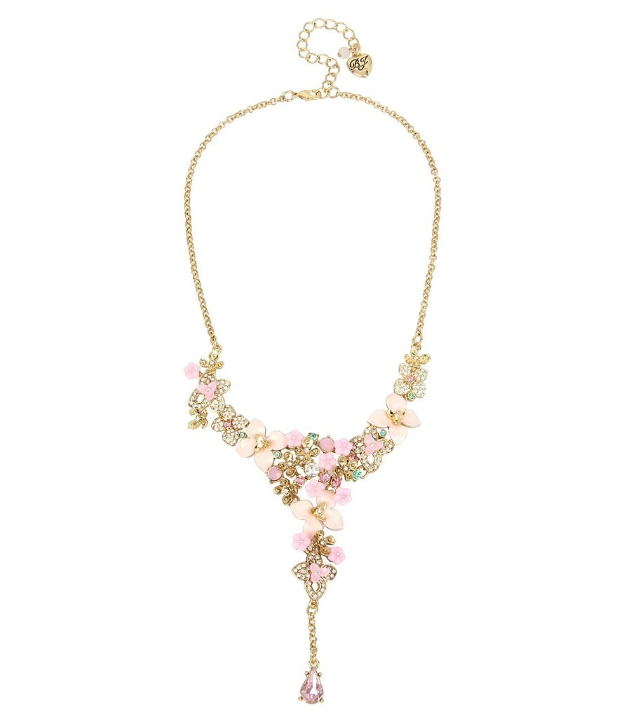 Betsey Johnson Pavé Flower Y-Necklace