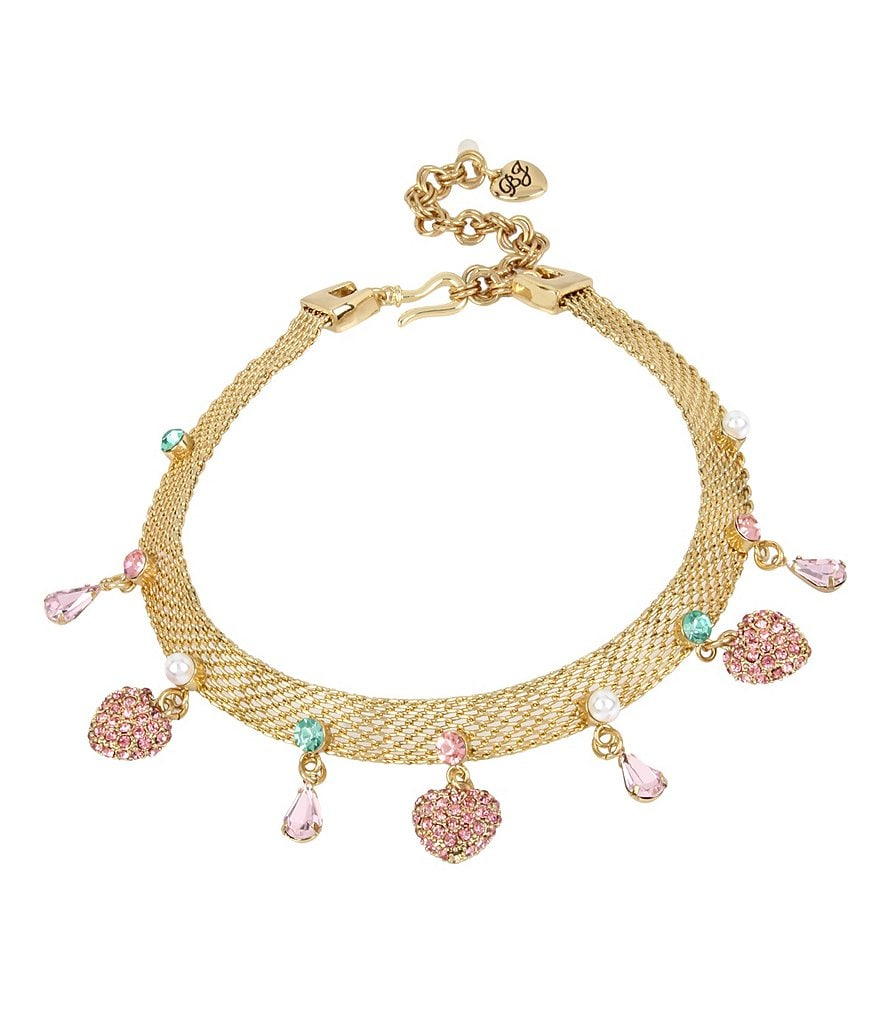 Betsey Johnson Mixed-Charm Mesh Choker Necklace