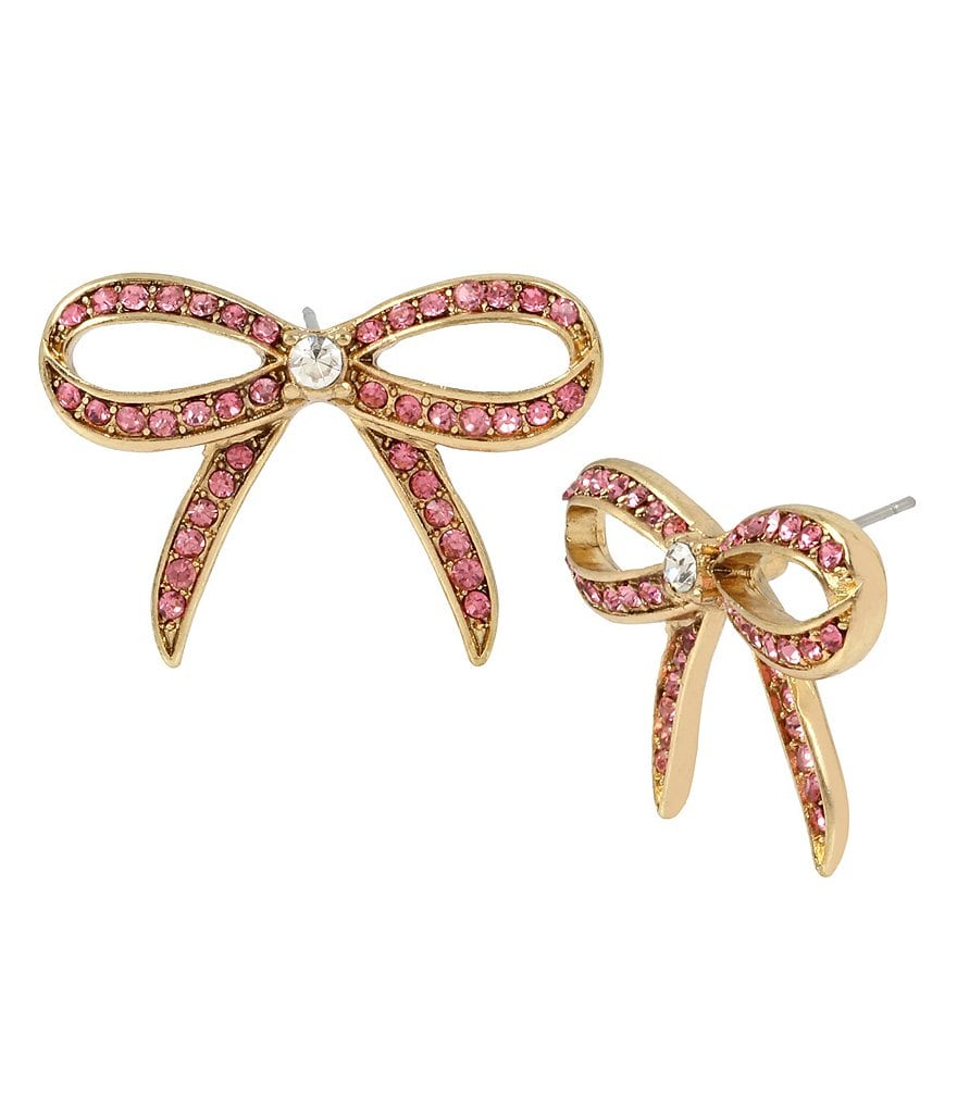 Betsey Johnson Pavé Bow Stud Earrings