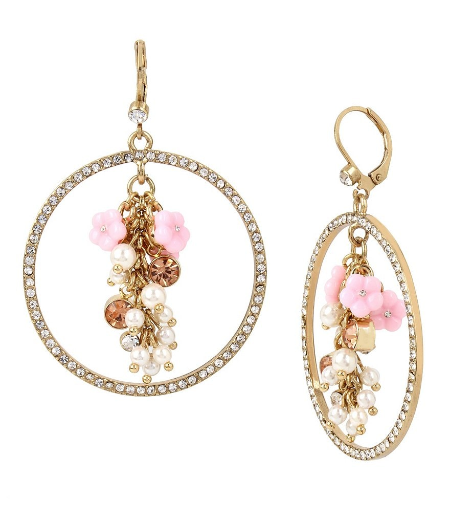 Betsey Johnson Charm Cluster Pavé Hoop Earrings