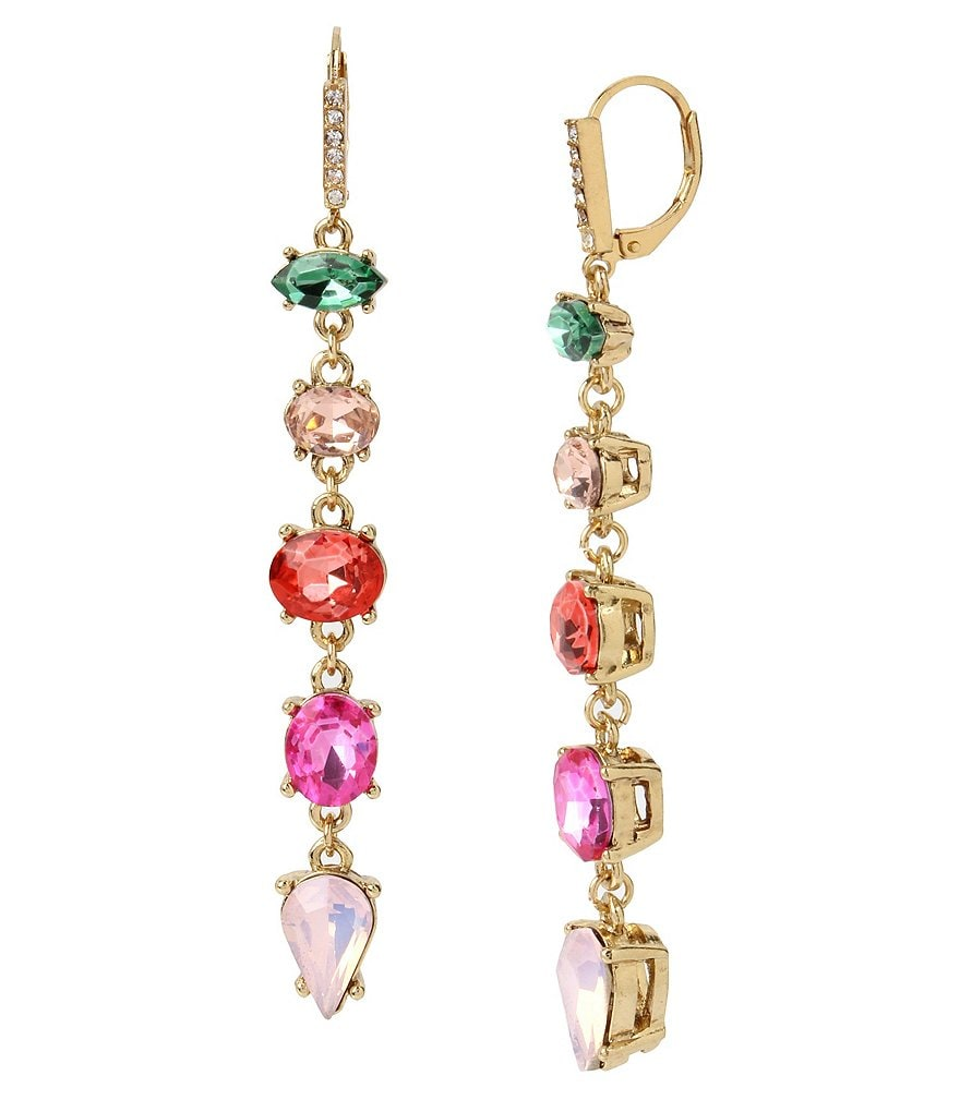 Betsey Johnson Faceted Stone Linear Drop Earrings