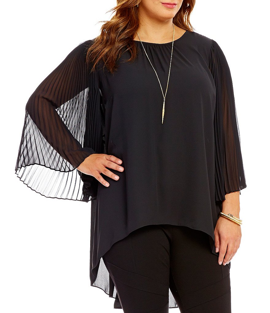 Vince Camuto Plus Chiffon Pleated Bell Sleeve Blouse