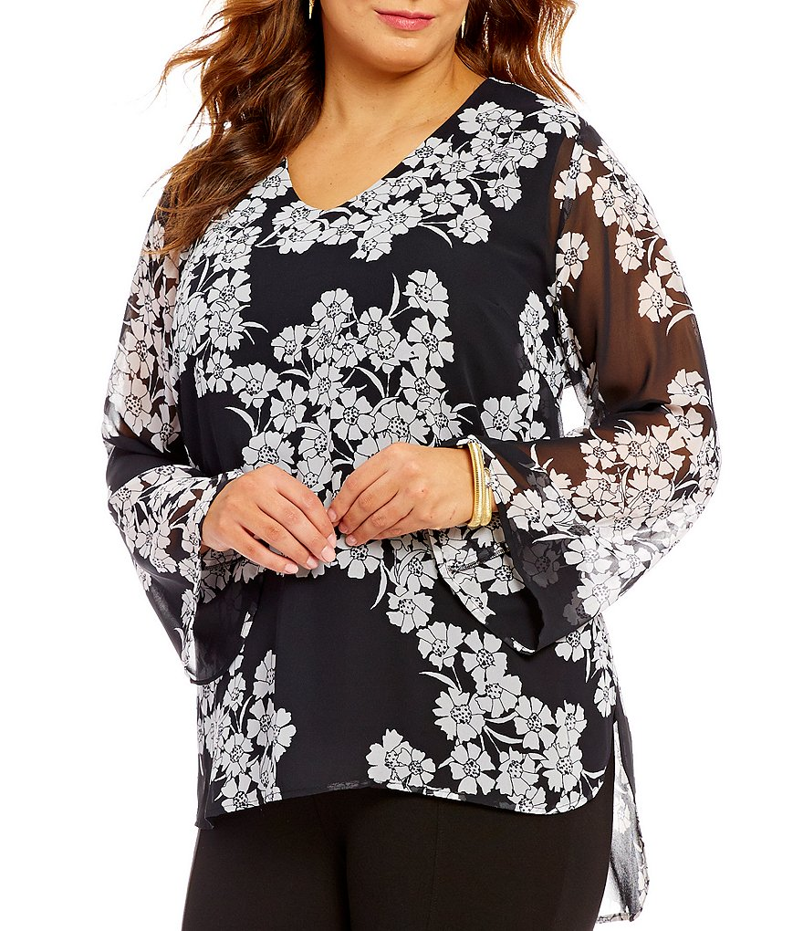 Vince Camuto Plus Mix Media Petal Cascade Blouse