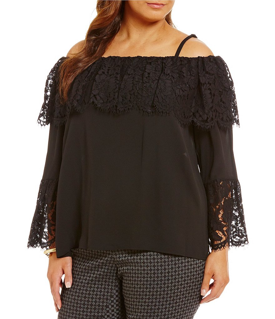 Vince Camuto Plus Lace Bell Sleeve Off the Shoulder Blouse