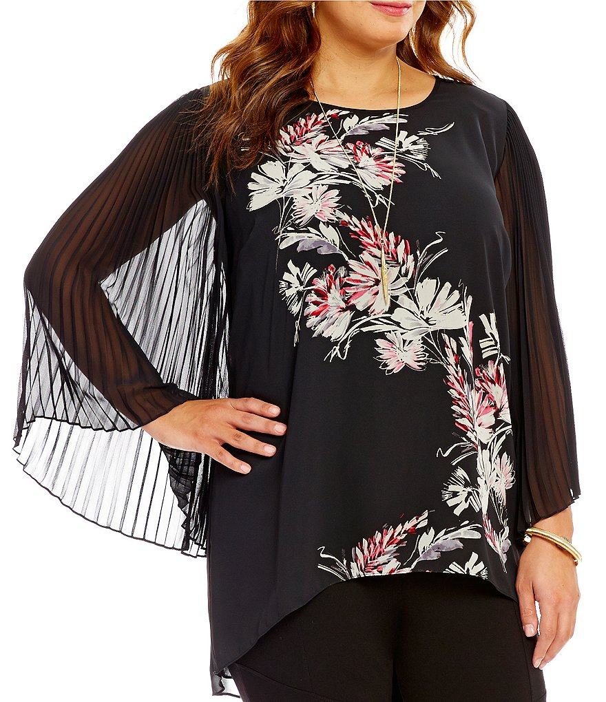 Vince Camuto Plus Chiffon Winter Garden Pleat Bell Sleeve Top