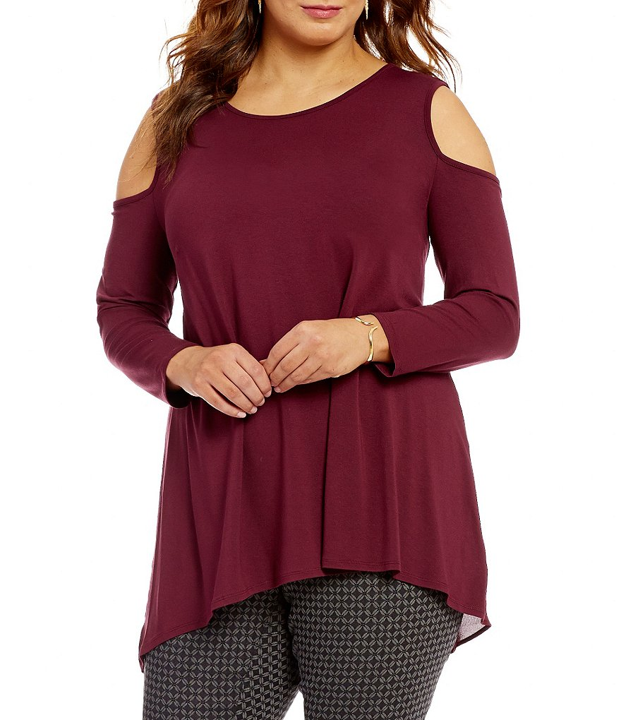 Vince Camuto Plus Crew Neck Cold Shoulder Mix Media Top