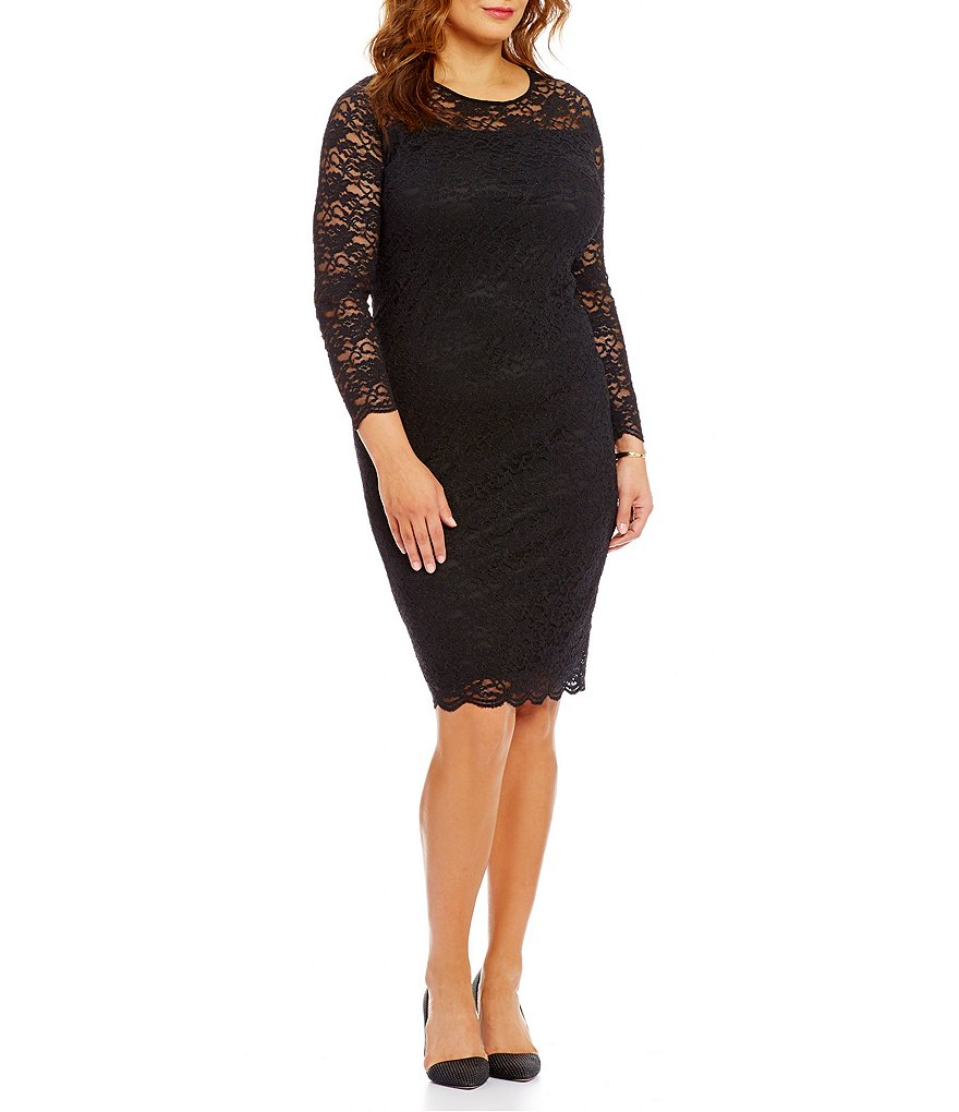 Vince Camuto Plus Scallop Hem Lace Long Sleeve Sheath Dress