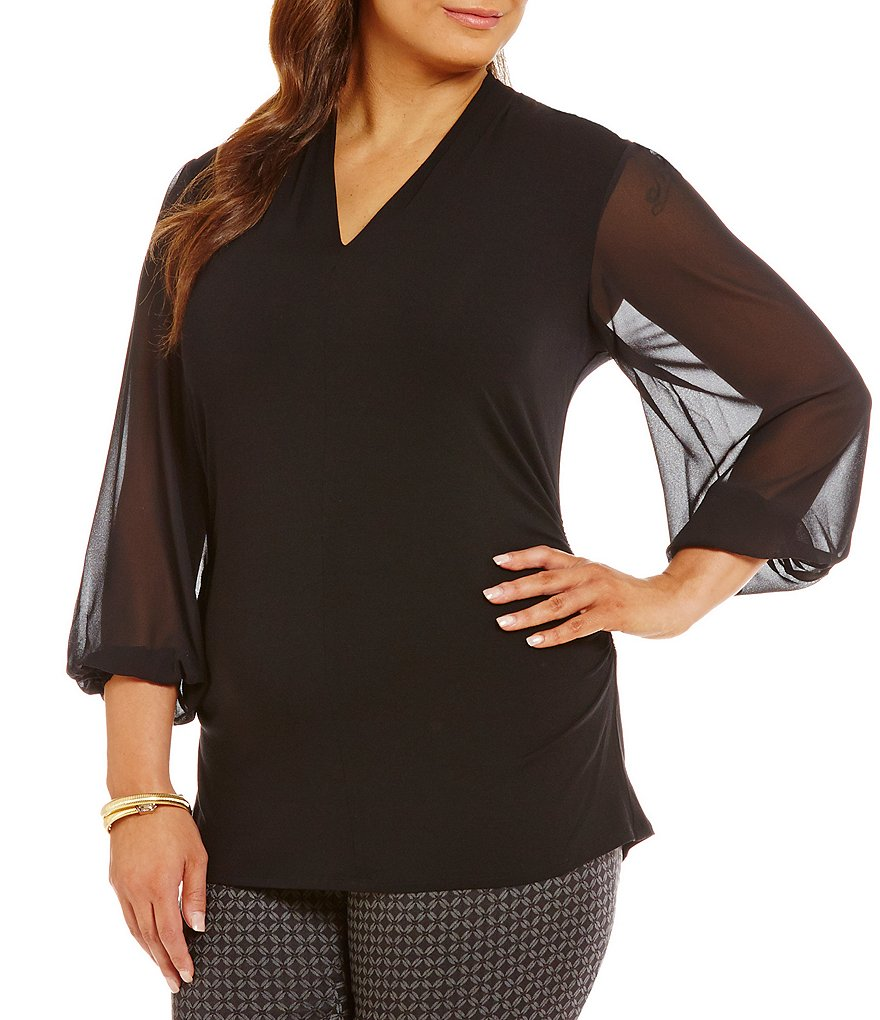 Vince Camuto Plus Chiffon Long Sleeve Top