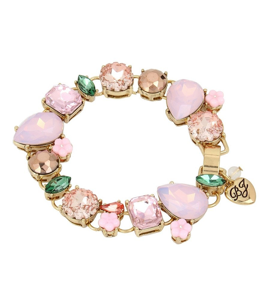 Betsey Johnson Faceted Stone & Flower Line Bracelet