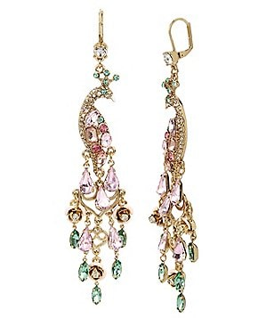 Betsey Johnson Pavé Peacock Chandelier Earrings