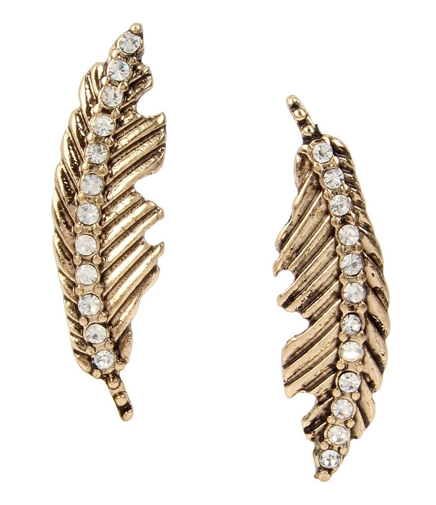 Betsey Johnson Mismatched Feather Drop Earrings
