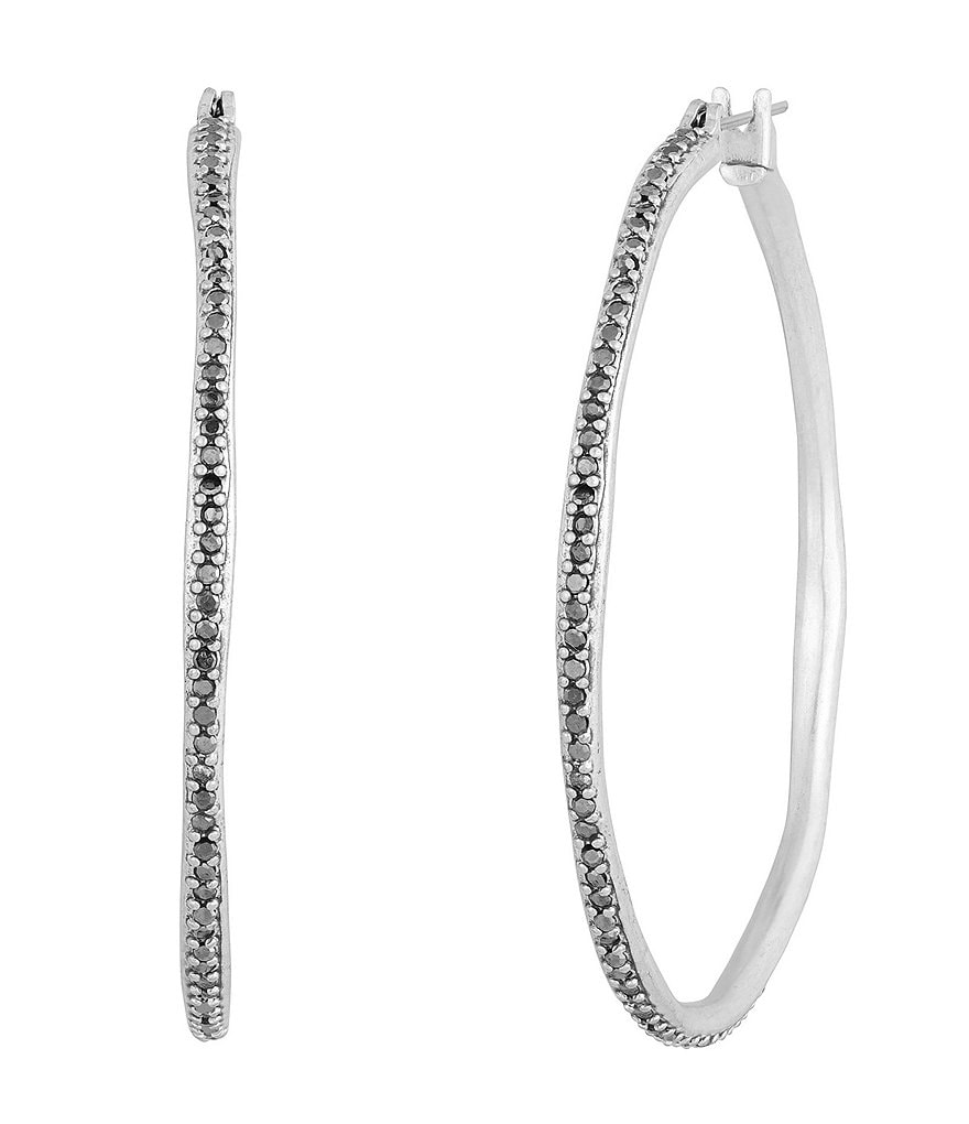 Lucky Brand Pebble Pavé Large Hoop Earrings