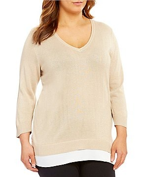Calvin Klein Plus Lurex Shirttail Hem Sweater
