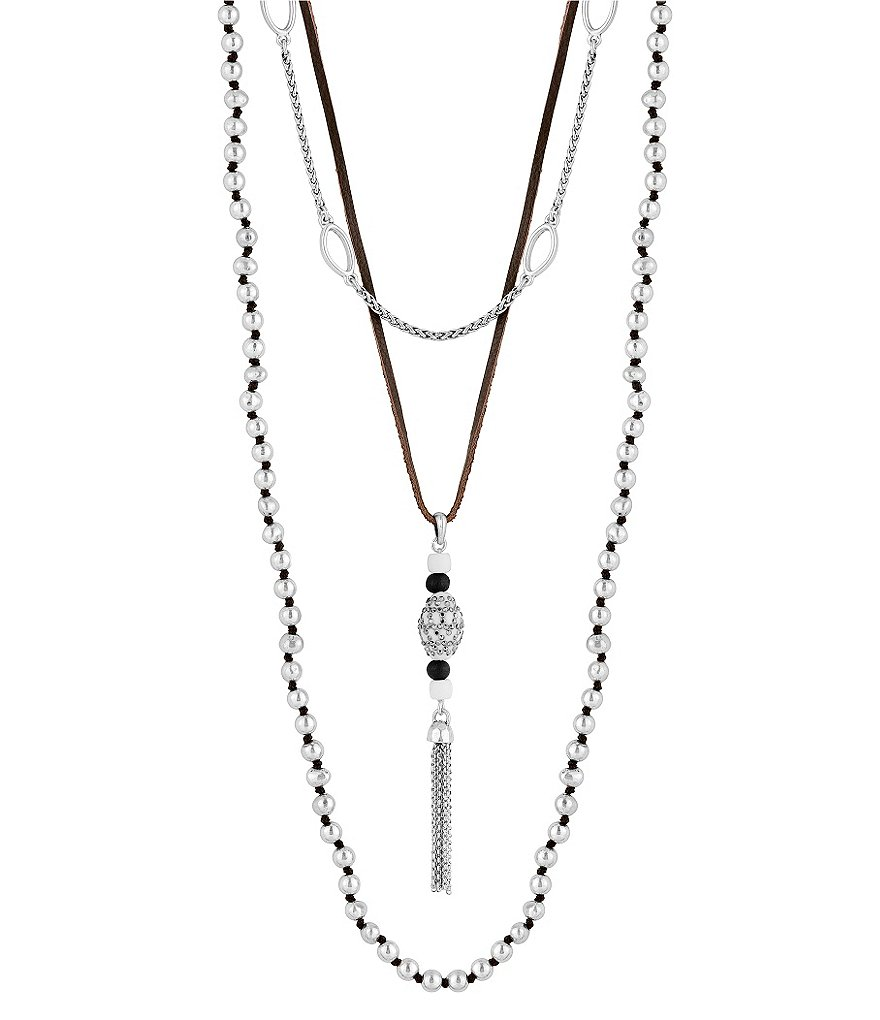 Lucky Brand Bone & Rock Crystal Convertible Multi-Strand Tassel Necklace
