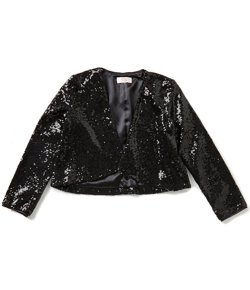 GB Girls Big Girls 7-16 Drape-Front Sequin Jacket