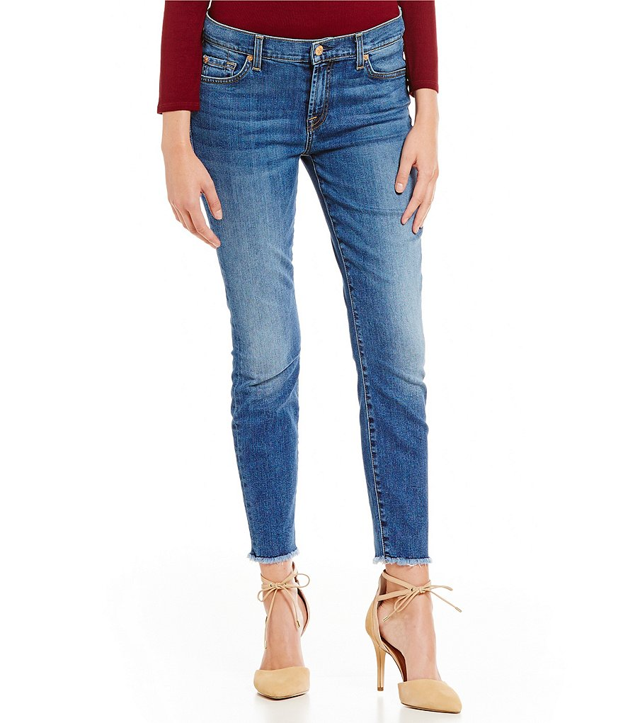 7 for All Mankind The Ankle Skinny Raw Frayed Hem Jeans