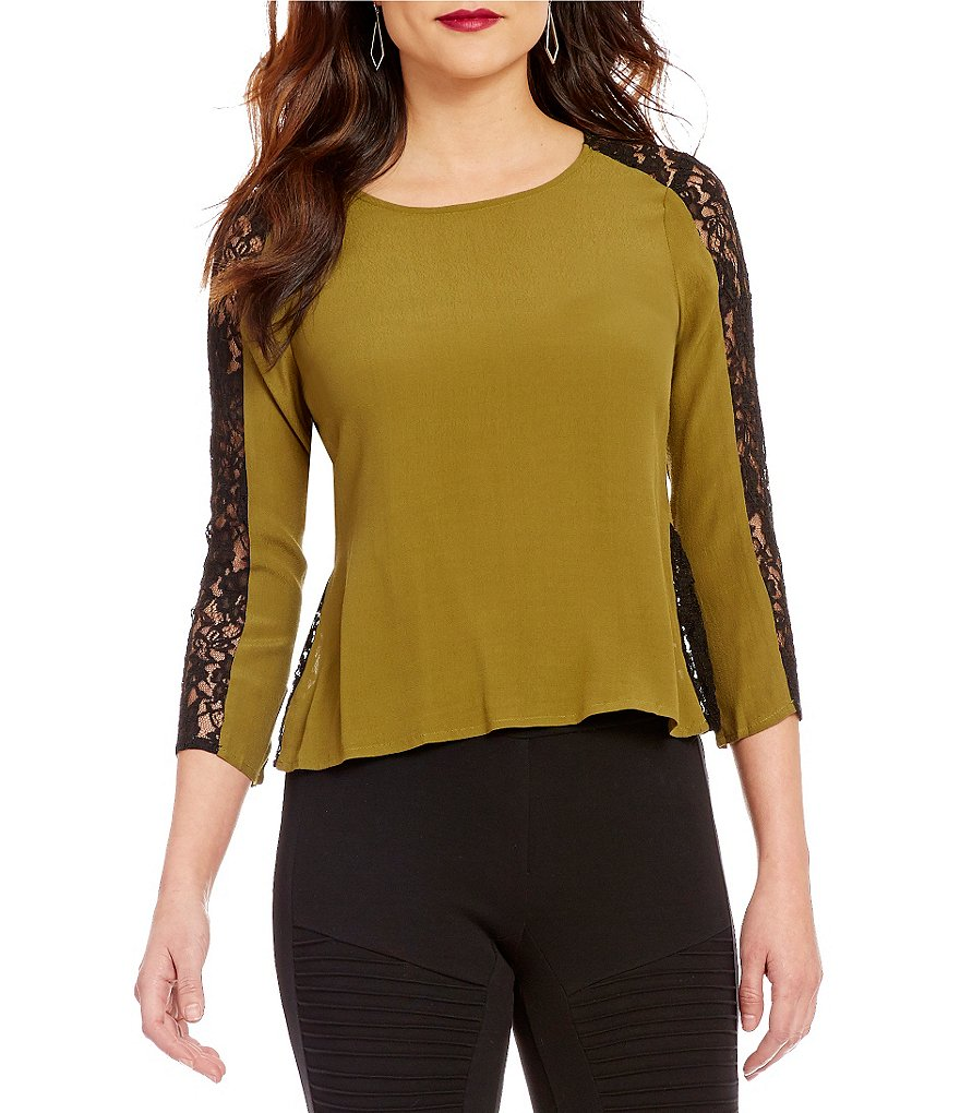 Sugarlips Lynette 3/4 Sleeve Lace Top