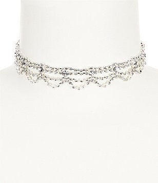 Cezanne Rhinestone Layered Choker Necklace