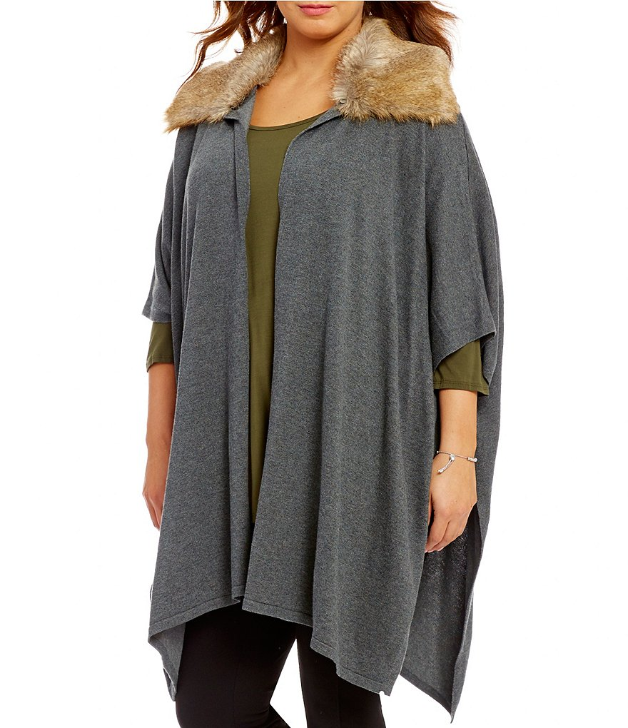 Gibson & Latimer Plus Detatchable Faux-Fur Collar Oversized Cardigan