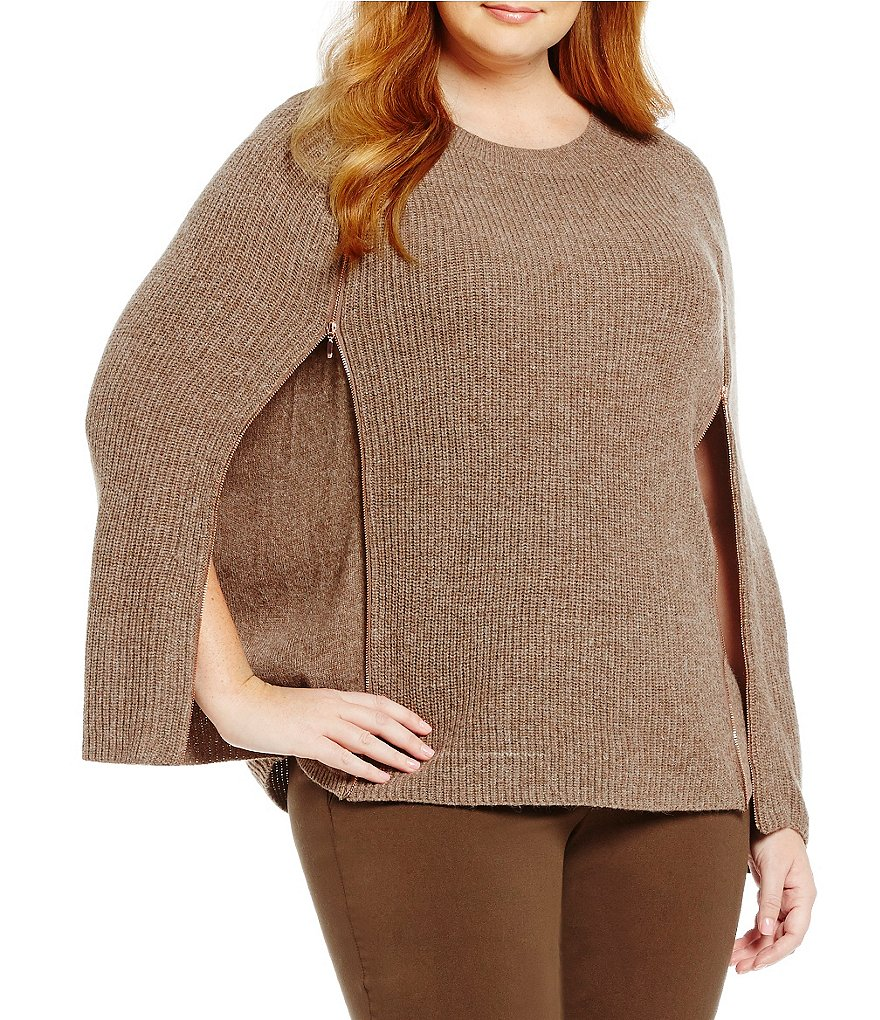 Gibson & Latimer Plus Sweater Zipper Side Poncho