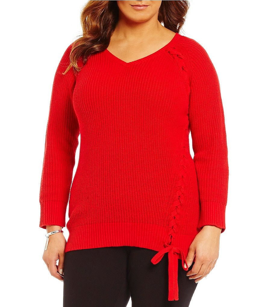 Gibson & Latimer Plus V-Neck Side Lace-Up Sweater