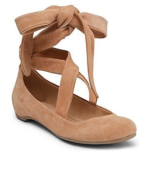 Kenneth Cole Reaction Pro Pose Suede Wrap-Around Ankle Tie Ballerina Flats