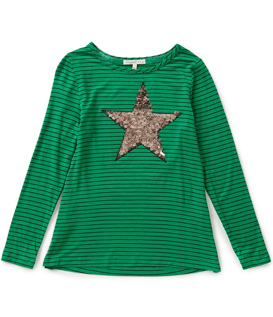 Copper Key Big Girls 7-16 Striped Sequin Star Top