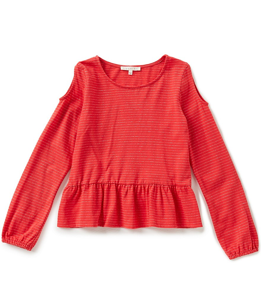 Copper Key Big Girls 7-16 Cold-Shoulder Metallic Striped Ruffle Top