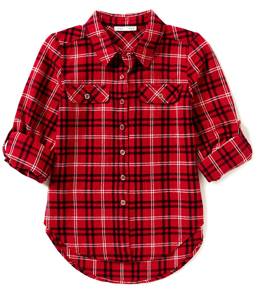 Copper Key Big Girls 7-16 Button-Front Plaid Flannel Shirt