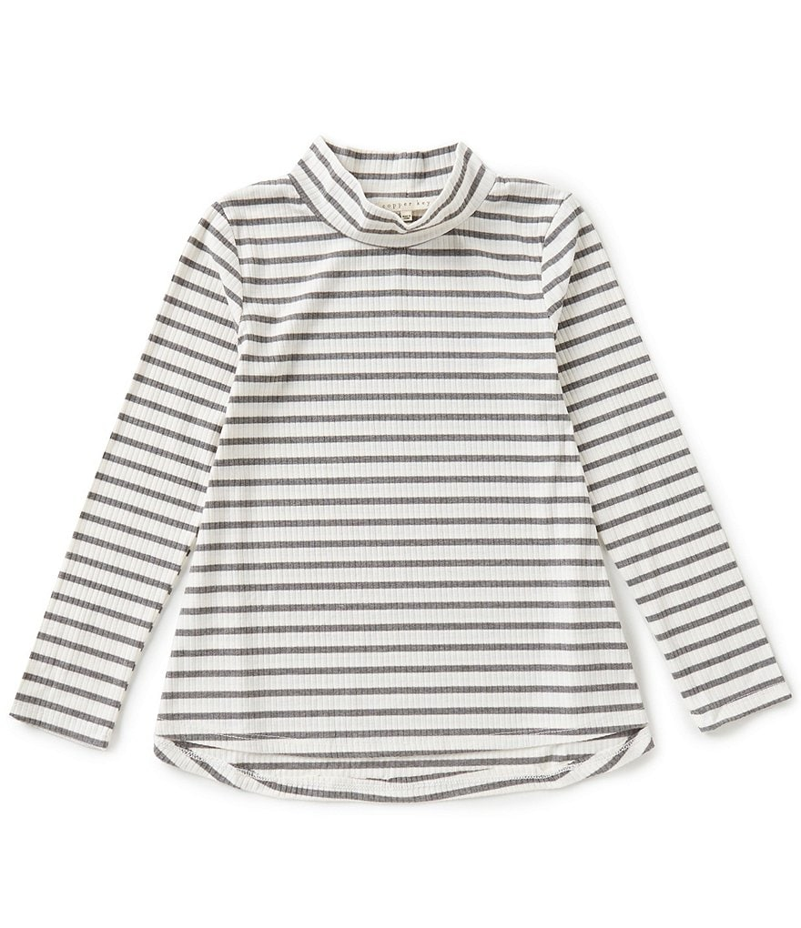 Copper Key Big Girls 7-16 Mock-Neck Striped High-Low Swing Top