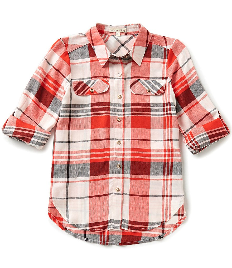 Copper Key Big Girls 7-16 Button-Front Plaid Shirt