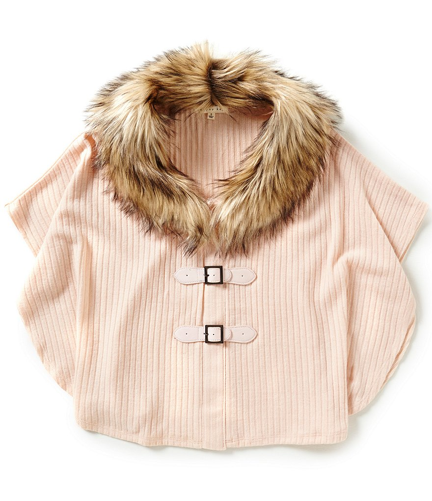 Copper Key Big Girls 7-16 Faux-Fur Ribbed Sweater Poncho