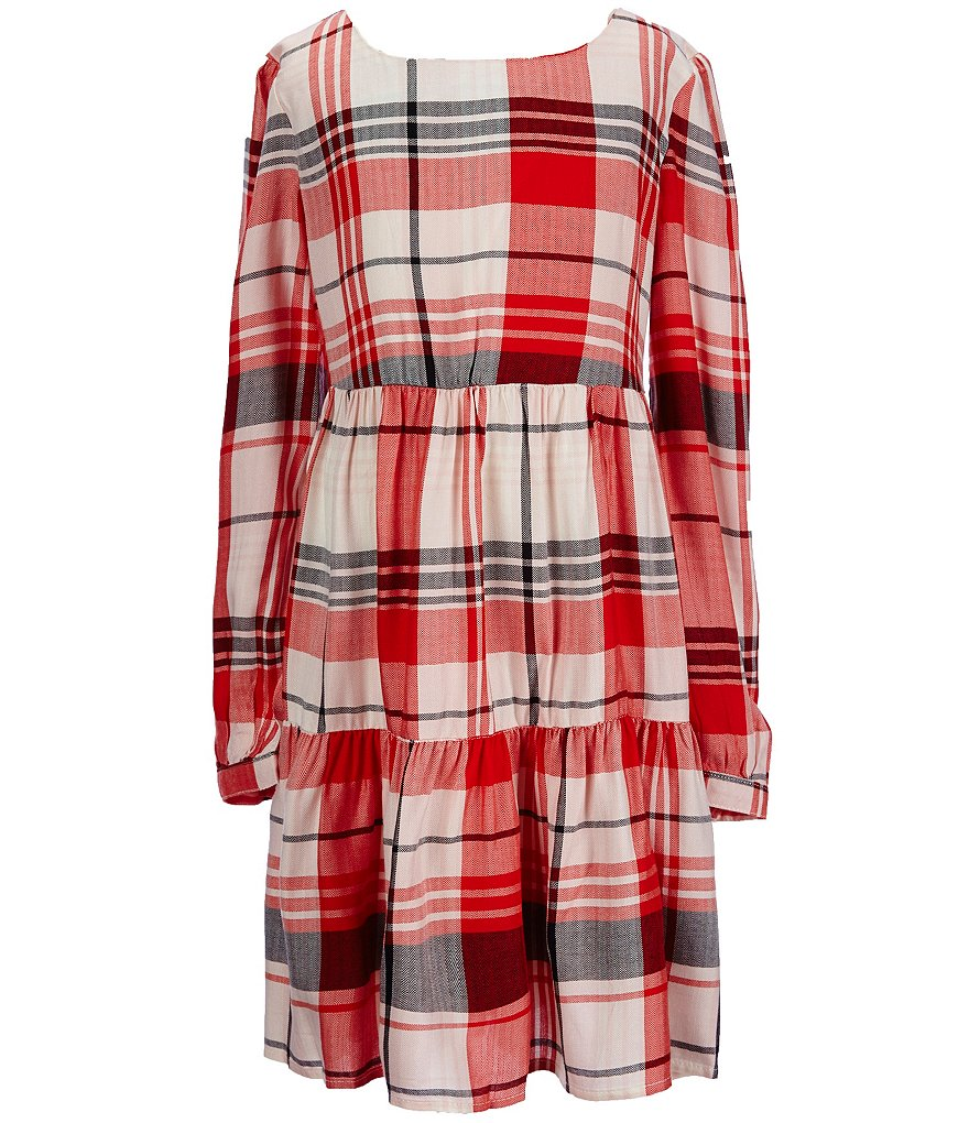 Copper Key Big Girls 7-16 Tiered Plaid Dress