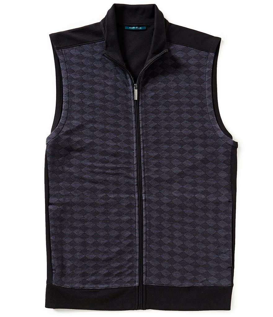Perry Ellis Quilted Diamond Jacquard Full-Zip Vest