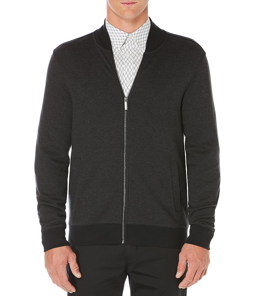 Perry Ellis Herringbone Elbow Patch Full-Zip Jacket