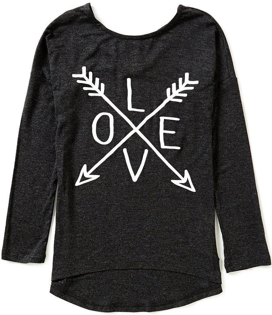 Copper Key Big Girls 7-16 Long Sleeve Love Knit Top