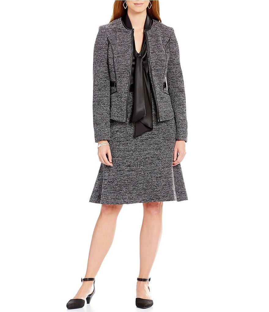 Kasper Tweed Zip-Front Jacket & Tweed Fit-and-Flare Skirt