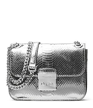 MICHAEL Michael Kors Sloan Editor Metallic Snake Medium Chain Shoulder Bag