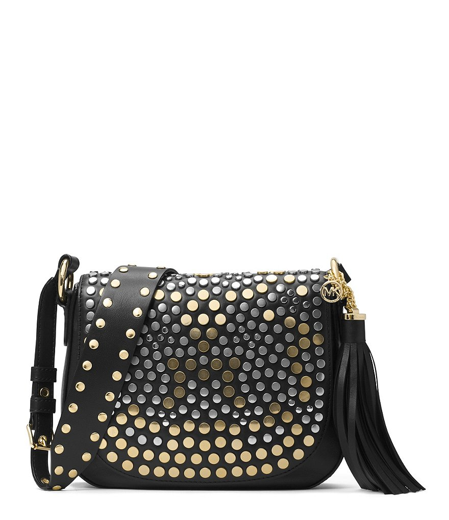 MICHAEL Michael Kors Brooklyn Tasseled Studded Medium Saddle Bag