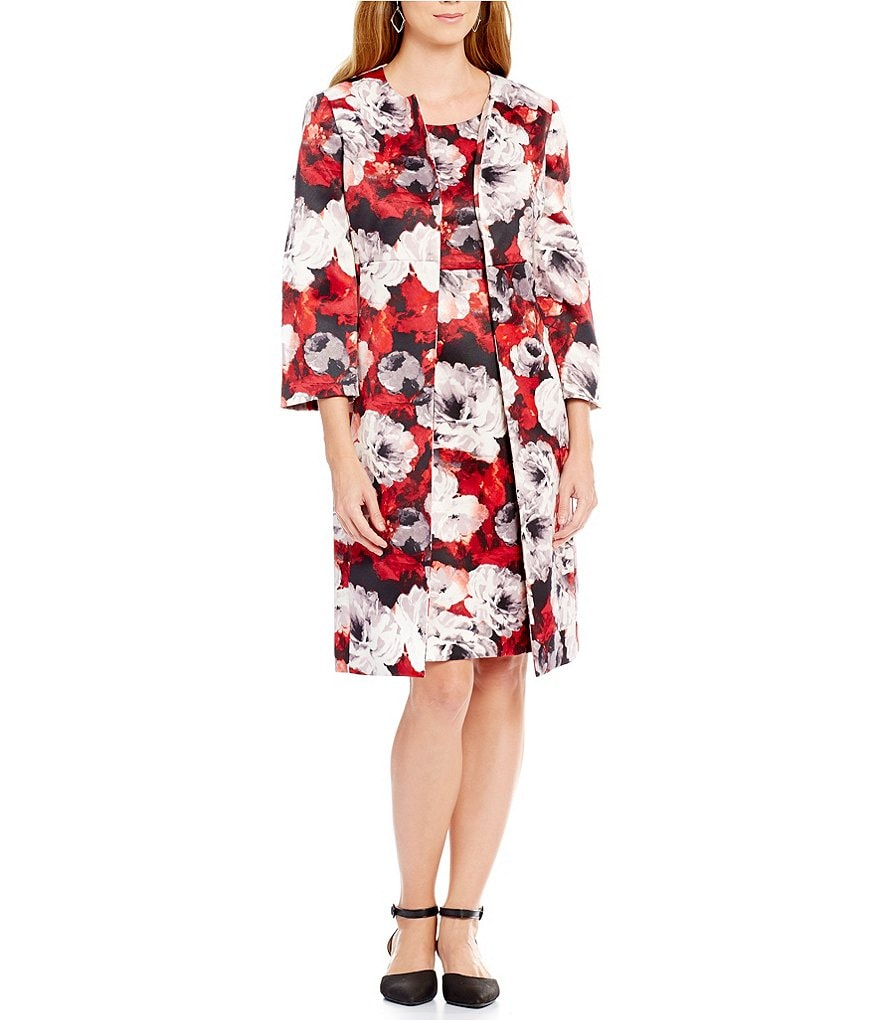 Kasper Rose-Print Twill Topper & Rose-Print Twill Sheath Dress